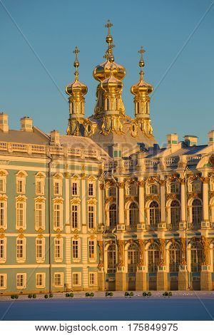 Domes of Church of the Resurrection of Catherine Palace in February twilight close up. Tsarskoye Selo Russia