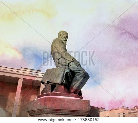 Photo monument to Dostoevsky to in Moscow