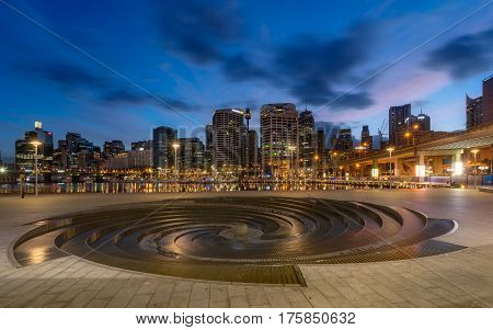 SYDNEY AUSTRALIA - March 122017: Sunrise of Darling Harbour adjacent to the city center of Sydney and also a recreational place in Sydney central business district