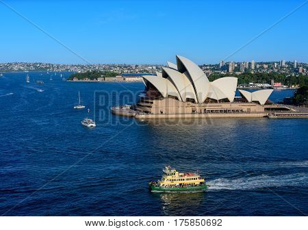 Sydney Australia - March 12,2017: View Of Sydney Opera House With Ferry. Sydney, Australia, Over 10