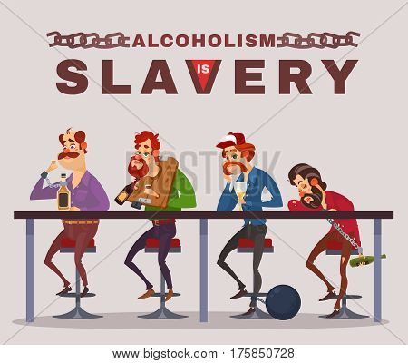 Vector cartoon illustration of men with alcohol addiction, metaphor. Icons of drunk men sitting at a bar counter