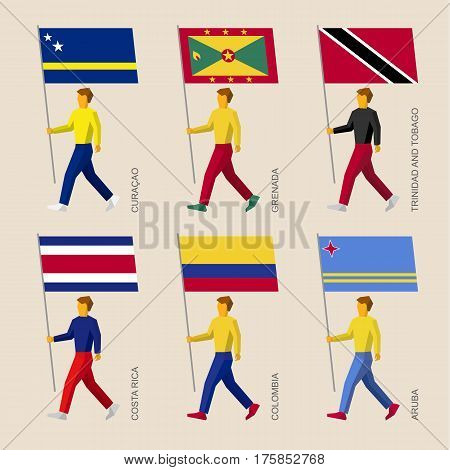 People With Flags: Curacao, Grenada, Trinidad And Tobago, Costa Rica, Colombia, Aruba