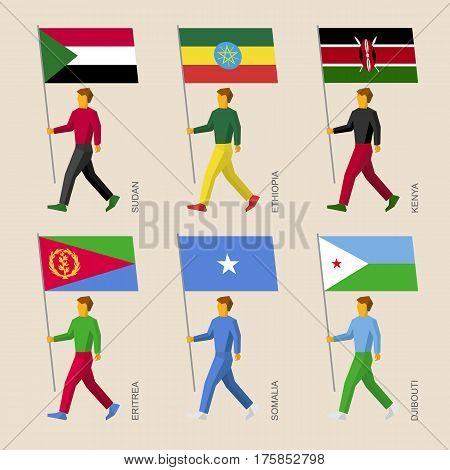 People With Flags: Sudan, Ethiopia, Kenya, Eritrea, Somalia, Djibouti