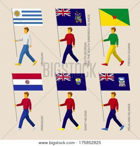 Set Of People With Flags Of South America Countries