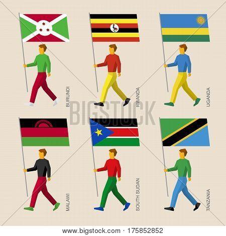 People With Flags - Burundi, Rwanda, Uganda, Malawi, Sudan, Tanzania