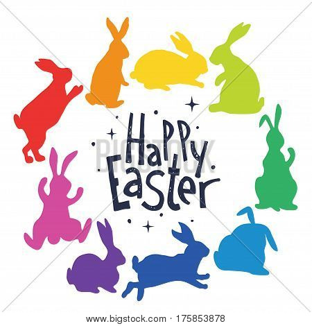 Composition of bunnies silhouettes in rainbow colors. Hares are arranged in a circle. In the middle of the circle the inscription Happy Easter. Vector illustration.