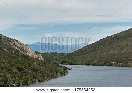 Landscape in extremadura spain with the mountains Sierra de Gredos in the background