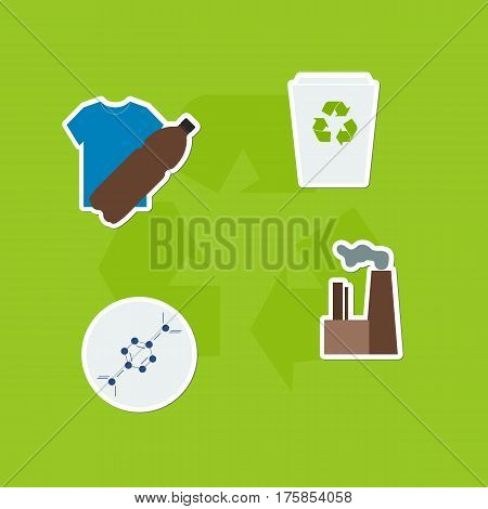 Recycled plastic concept. Life cycle of plastic.