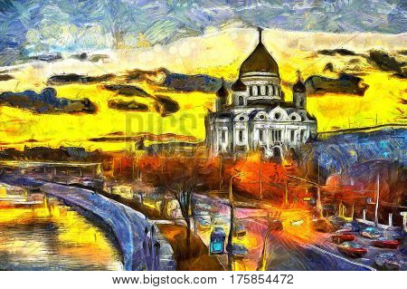 oil painting sunset over the river in the city
