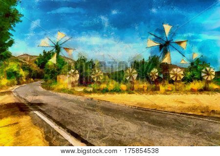 oil painting windmills on bee bread hot summer day