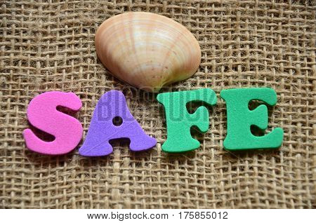 word safe on a  abstract colorful background