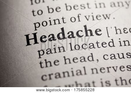 Fake Dictionary Dictionary definition of the word headache.