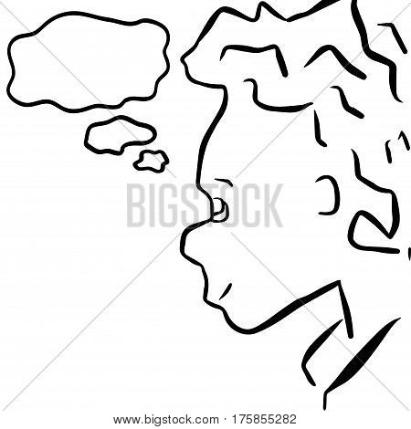Dreaming boy cartoon character with text bubble. Little child with naughty or curious face expression. Young kid thoughts. Hand-drawn child with think cloud. Black and white kid comic drawing
