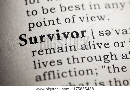 Fake Dictionary Dictionary definition of the word survivor.
