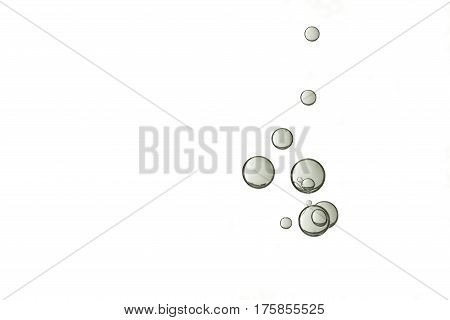 A group of grey air bubbles is isloated over a white background