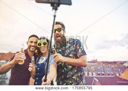 Group Of Three Drunks Taking Self Portrait