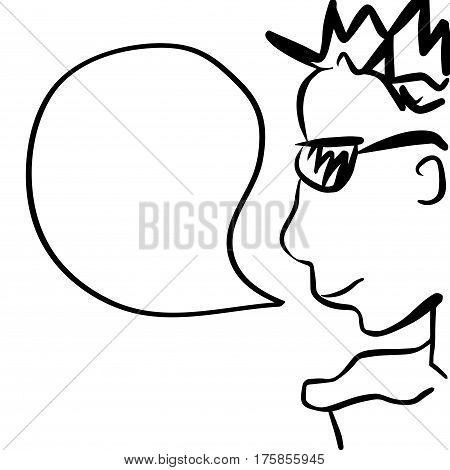 Man in sunglasses cartoon character with text bubble. Comic style drawing of young handsome man with speech bubble. Square monochrome image for template or background. Party goer or clubber caricature