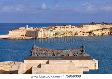 view fort Rinella and war memorial,Valetta,island Malta