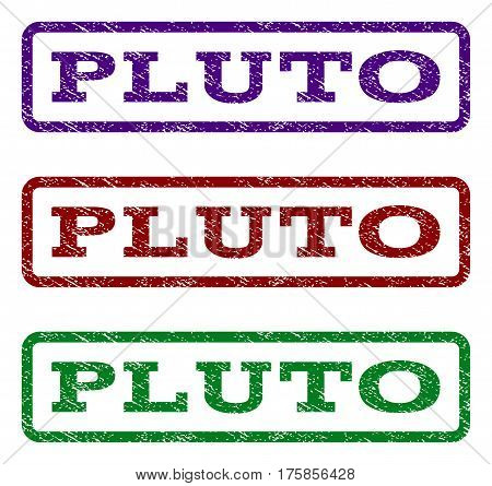 Pluto watermark stamp. Text caption inside rounded rectangle frame with grunge design style. Vector variants are indigo blue, red, green ink colors. Rubber seal stamp with dust texture.
