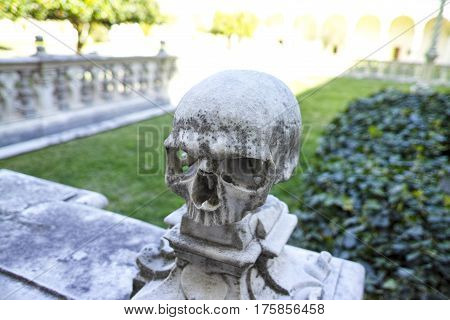 Skull : Marble sculpture in the Charterhouse of San Martino in Naples italy