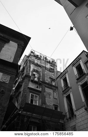 detail of hystorical naples architecture in italy
