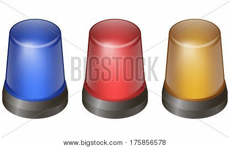 Flashing lights in various colors, symbol for alert, warning and emergency in isometric style