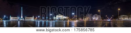 Heroes' Square Millennium Memorial night panorama Budapest Hungary