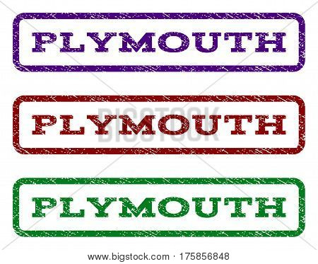 Plymouth watermark stamp. Text tag inside rounded rectangle with grunge design style. Vector variants are indigo blue, red, green ink colors. Rubber seal stamp with dirty texture.