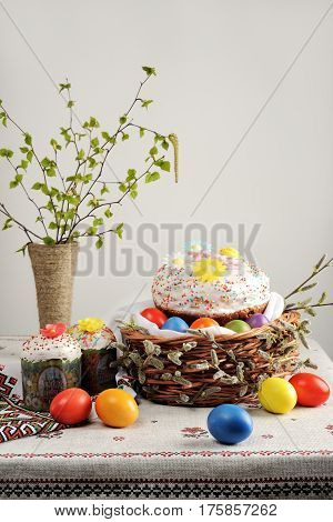 Traditional Russian-Orthodox Easter (Paschal) food: Easter bread and painted eggs