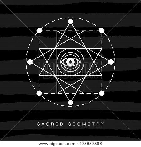 Sacred geometry sign on black grunge background. Linear Modern Art. Alchemy spirituality astrology symbol, logotype. Vector illustration