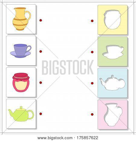Jug, Tea Cup, Jar And Teapot. Educational Game For Kids