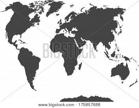 Blank World Map Isolated On White Background