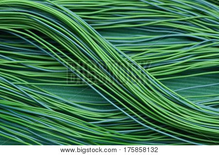 Green Cable and Wire Electric Closeup as Background