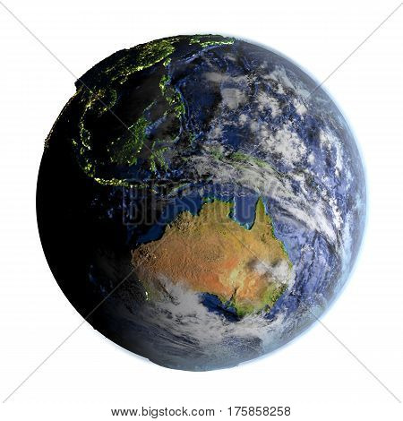 Australia On Earth Isolated On White