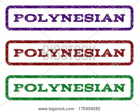 Polynesian watermark stamp. Text caption inside rounded rectangle with grunge design style. Vector variants are indigo blue, red, green ink colors. Rubber seal stamp with dirty texture.