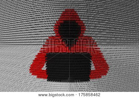 hacker presented in the form of binary code 3d illustration