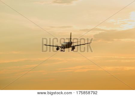 Passenger plane flies in the evening sky