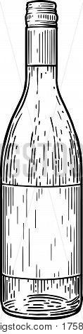 Wine bootle illustration, drawing, engraving, ink, line art,
