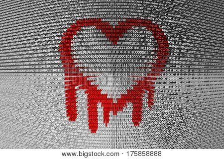 heartbleed is presented in the form of binary code 3d illustration