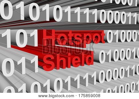 hotspot shield in the form of binary code, 3D illustration