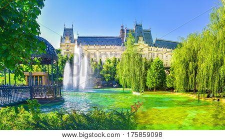 Central square in Iasi town Moldavia Romania