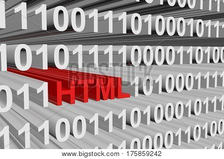 html as a binary code 3D illustration