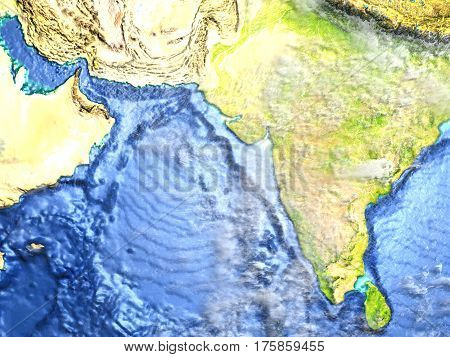 Indian Subcontinent On Earth - Visible Ocean Floor