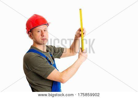 Worker With Yardstick