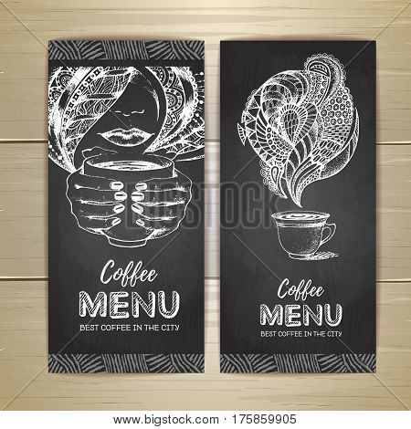 Chalk drawing. Coffee menu design. Decorative sketch of cup of coffee