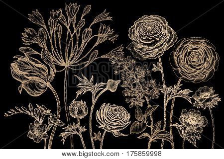 Bouquet of spring flowers blooming. Hand drawing tulip African lily ranunculus anemones lilac freesia print gold foil on black background. Vector illustration art floral design. Vintage engraving