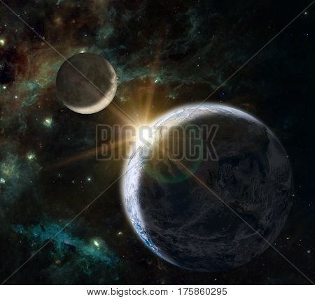 Fantasy composition of the planet Earth and his natural satelite the Moon on a background showing the Swan Winging in the Cygnus constellation.
