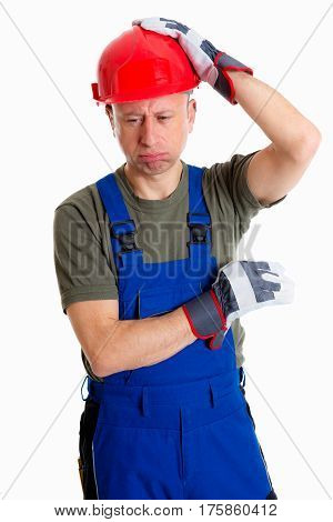 Workman With Helmet Thinking