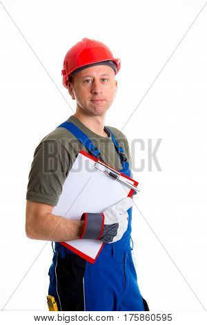 Young Workman In Blue Dungarees With Clipboard