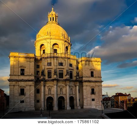 Exterior view to National Pantheon at sunset in Lisbon, Portugal
